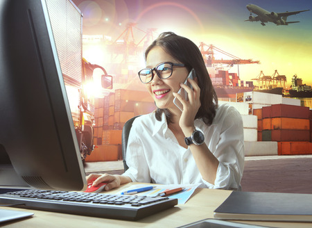 professional working woman and logistic industry business Reklamní fotografie