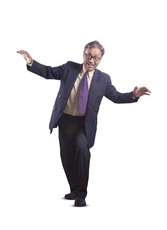 asian senior business man playing like a ghost funny emotion isolated white background