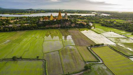 mountin: aerial view of wat thum suae tiger cave in kanchanaburi western thailand important religion landmark
