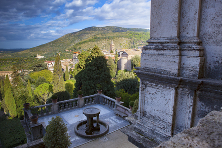 destination scenic: beautiful scenic of Villa d�Este, Tivoli important world heritage site and important traveling destination in central of italy