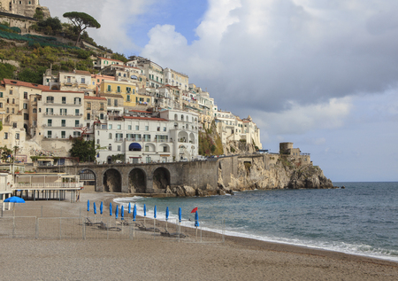 destination scenic: beautiful scenic of amalfi coast south italy important  traveling destination at mediterranean sea Stock Photo