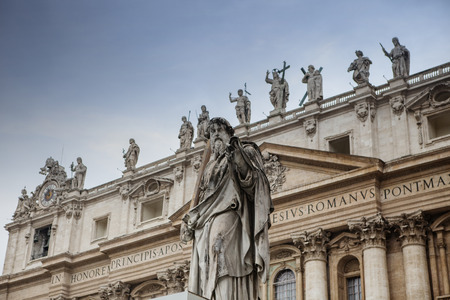 papal audience: exterior of St Peter Basilica rome italy important traveling landmark in vatican
