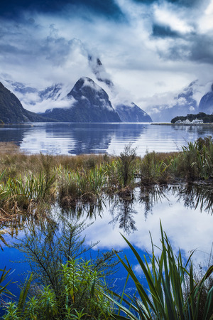 destination scenic: beautiful scenic of milfordsound fiordland national park important traveling destination in south island new zealand
