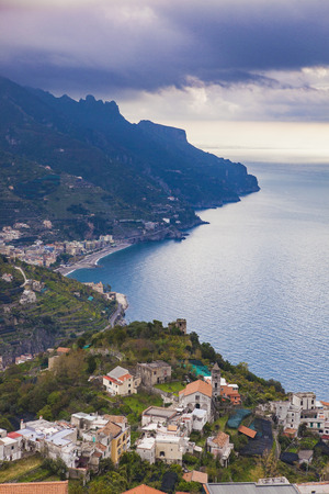 amalfi coast looking from raod to  ravello mediterranean sea south italy