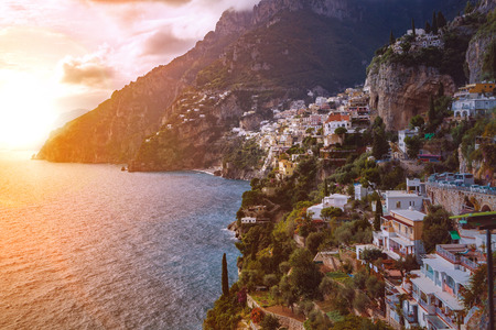destination scenic: beautiful scenic of positano town mediterranean coast line south italy important traveling destination