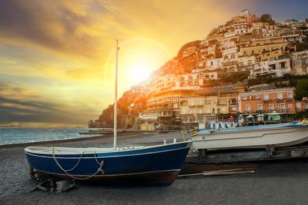 sorrento: beautiful scenic of positano beach sorrento town south italy important traveling destination of mediterranean sea