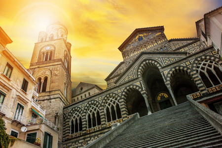 cattedrale: cattedrale of SantAndrea ,duomo of amalfi important traveling destination in mediterranean coast line south italy
