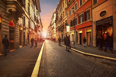 people walking on wall street with european building style in rome italy use as background and backdrop Stock Photo