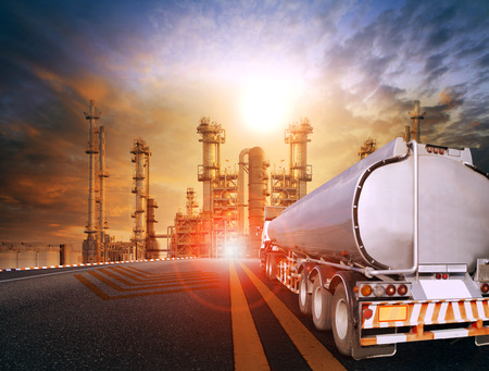oil container truck and heavy petrochemical industries plant for petroleum fuel industrial theme