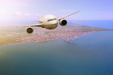 leonardo da vinci: passenger  plane flying from Fiumicino – Leonardo da Vinci International Airport rome italy