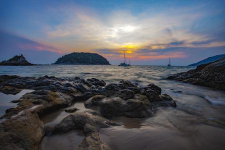 sea beach: beautiful sea scape and sun set sky of ya nui beach andaman sea phuket southern of thailand