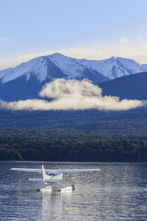 te: water plane floating in lake te anau fiordland national park new zealand important natural traveling destination