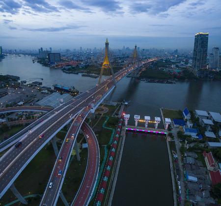 ix: aerial view of bhumibol bridge important landmark and traffic transportation in bangkok thailand