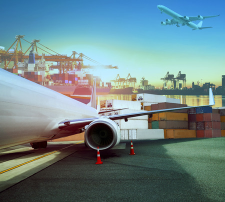 cargo transport: cargo plane and ship loading container for logistic and transport business