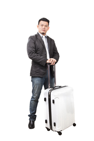 portrait asian younger business man and traveling luggage standing isolate white background Stock Photo