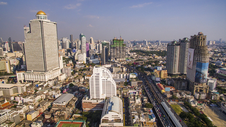 bangrak: BANGKOK THAILAND - DECEMBER 24 : aerial view of skyscraper and sathorn road most important of office building in heart of capital on december 24 , 2015 in bangkok thailand Editorial