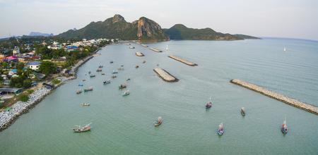 aerial view of klong wan harbor prachuap khiri khan southern of thailand Stock Photo