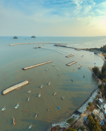 aerial view of klong wan harbor in prachuap khiri khan southern of thailand