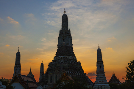 silhouette photography sunset sky of wat arun temple most popular religion traveling destination in bangkok thailand Stock Photo