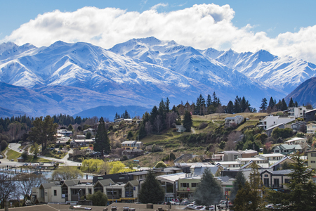WANAKA TOWN NEW ZEALAND - SEPTEMBER 5,2015 : beautiful scenic of wanaka town most popular traveling destination in south island new zealand