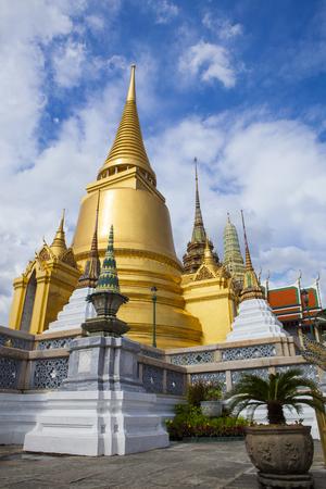 architectural exteriors: beautiful gold pagoda in grand palace bangkok thailand Stock Photo