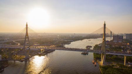 aerial view of bhumibol bridge crossing chao praya river in bangkok thailand Stock Photo
