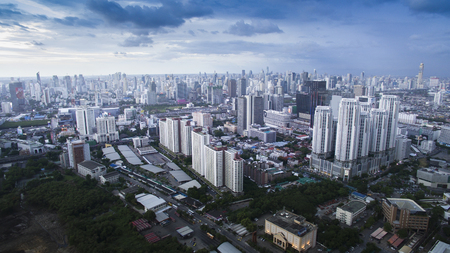 BANGKOK THAILAND - JUNE 7,2017 : aerial view of  high and modern office building at ratchadaphisek road and praram 9 road new business and shopping area in thailand capital