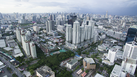 BANGKOK THAILAND - JUNE 7,2017 : aerial view of high and modern office building at ratchadaphisek road,newly business center are in capital