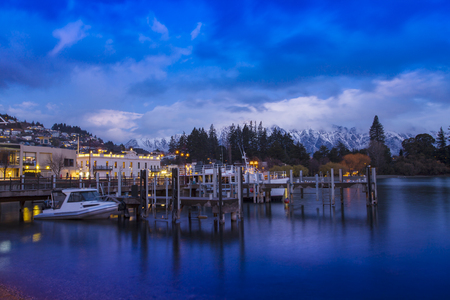 beautiful scenic of queenstown pier most popular traveling destination in south island new zealand