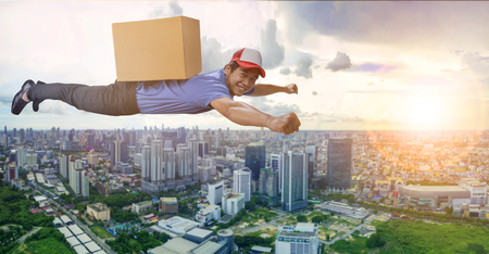 flying delivery man carrying carton box on back isolated white background