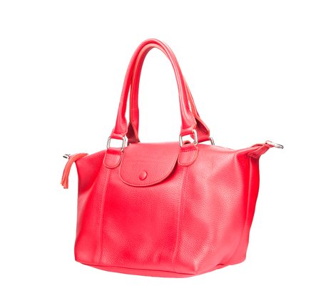 beautiful color of pink leather fashion hand bag isolated white background Banco de Imagens