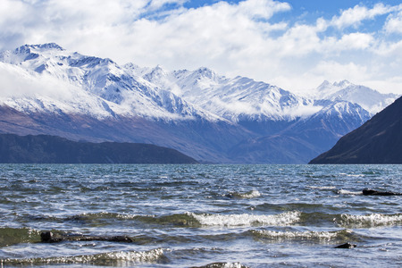 beautiful scenic of lake wanaka new most popular natural traveling destination in new zealand Stock Photo