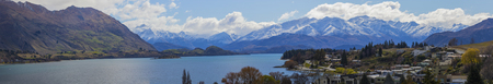 townscape: panorama view of wanaka lake town most popular natural traveling destination in south island new zealand Stock Photo