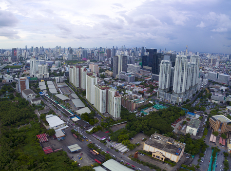 BANGKOK THAILAND - JUNE 7,2017 : aerial view of  modern high building at ratchadaphisek road newly business office center in heart of thailand capital Editöryel