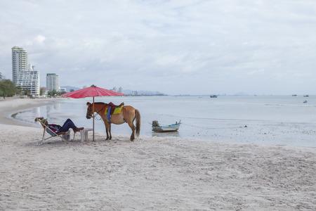 HUAHIN PRACHUAP KHIRI KHAN THAILAND -J UNE25,2016: toeristenpaardwachter liggend op strandstoel met ponypaard op huahin strand, populairste reisbestemming in prachuap khiri khan zuidelijk van Thailand Redactioneel