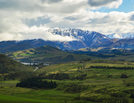 beatiful landscape of agriculture field in queenstown south island new zealand