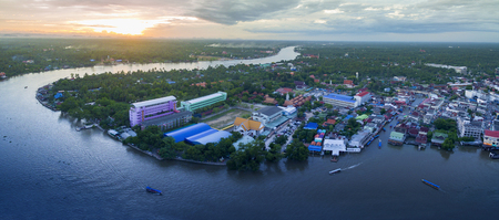 aerial view sunset sky of amphawa district in samut songkram most popular traveling destination in thailand