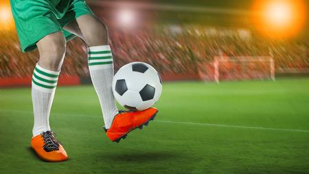 soccer football players in sport stadium field against fan club on stadium seat