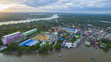 klong: aerail view of amphawa canal and mae klong river most popular traveling destinatoin in thailand