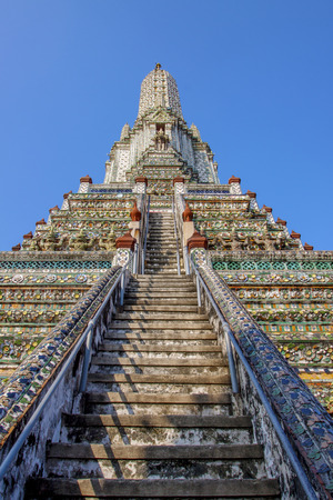 stairway to wat arun temple pagoda most popular religious traveling destination in bangkok thailand
