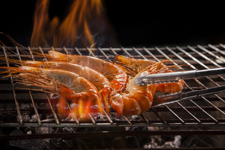 shrimp ,prawn grilled on barbecue stove