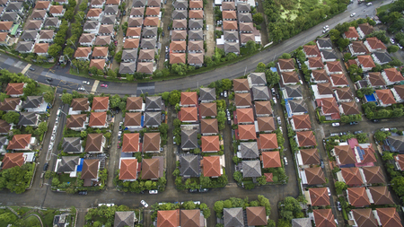 top view of home village in bangkok thailand