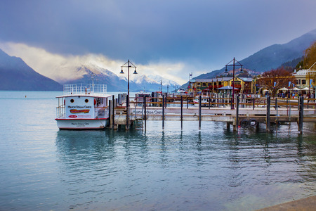 QUEENSTOWN NEW ZEALAND - SEPTEMBER 5,2015 : beautiful scenic of port of lake wakatipu in queenstown most important traveling destination in southland new zealand Editorial