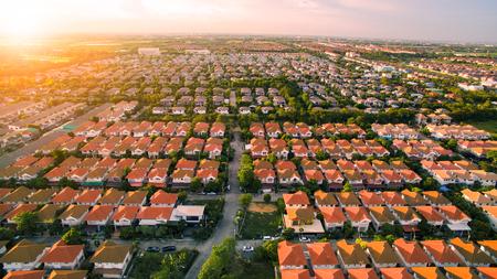 Luchtfoto van huisdorp in Bangkok Thailand Stockfoto