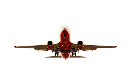 plane approaching to landing isolated white background Stock Photo