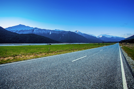 beautiful scenic of asphalt way in aspiring national park south new zealand