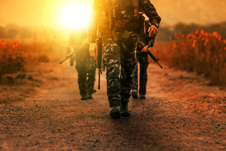 troop of long range patrol military army Stock Photo