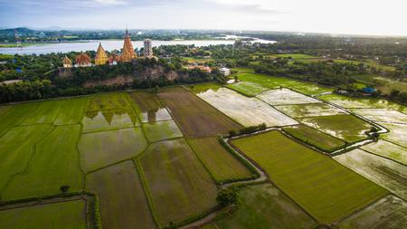 aerial view of wat thum seau kanchanaburi thailand