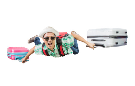 traveling man flying with luggage bag floating isolated white background photo