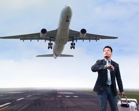 business man and plane in airport